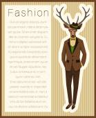 Fashion dressed up deer — Stock Vector