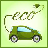 Electric eco car — Stock Vector