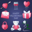 Valentines day icons set — Stock Vector #62183763