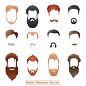 Beards and Mustaches, Hairstyles — Stock Vector