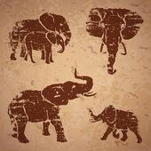 Elephants on a rock — Vector de stock