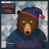 Big brown hipster bear — Stock Vector