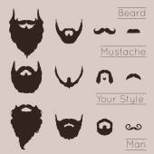 Beards and Mustaches  set — Stock Vector