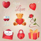 Valentine's day icons set — Stock Vector