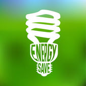 Energy save concept poster with lightbulb. — Stock Vector