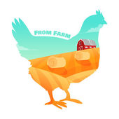 Hen with farm background inside. Concept of fresh products. — Stock Vector