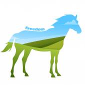 Concept of horse silhouette with text on field background. — Stock Vector