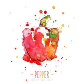 Watercolor red pepper with splashes in free style. Fresh and juicy colors. Hand drawn isolated on white background. — Stock Vector