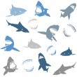 Sharks silhouettes seamless pattern. Isolated blue on white Background — Stock Vector #75510259