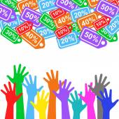 Sale labels background and colorful hands - sale 10 - 50 percent text — Stock vektor