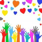 Multicolorido de mãos e corações felizes — Vetor de Stock