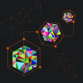 Cubes of colorful triangle elements — Stock vektor