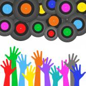 Multicolored hands crowds — Stock Vector