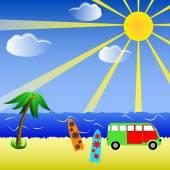 Beach Background illustration — Stock Vector