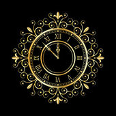 Gold clock vintage style — Vettoriale Stock