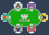Poker table with players — Vetorial Stock
