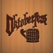 Octoberfest greatings wooden text beer holiday — Stok fotoğraf