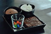 Dessret Icecream Chocolate scoop with brownie set for serve — Stock Photo