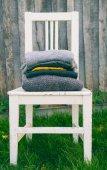 Gestreifter wolle Texturen in Autmn Farben auf Stuhl — Stockfoto