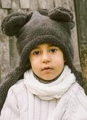 Cute Little Boy in Teddy bear polar cover — Stock Photo