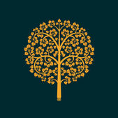 Golden Bodhi tree symbol, vector illustration — Stock Vector