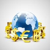 Golden world currency symbols moving around 3d world for global economic concept, vector illustration — Stock Photo