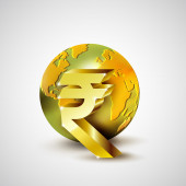 World economic concept with 3d gold world and Rupee currency isolated on white background, vector illustration — Foto Stock