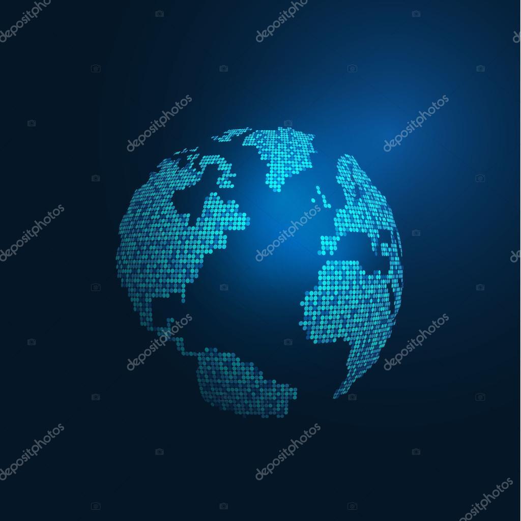 世界地图数字科技概念隔离在蓝色背景,矢量图