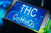 The chemical formula of THC — Stock Photo
