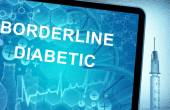 The words  Borderline Diabetic on a tablet with syringe — Stock Photo