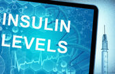 The words Insulin Levels on a tablet with syringe — Stock Photo