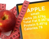 Tablet with Calories In Apple. nutrition facts — Stock Photo