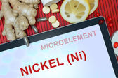Tablet with word Nickel (Ni) — Stock Photo