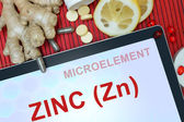Tablet with word Zinc (Zn) — Stockfoto