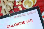 Tablet with words Chlorine (Cl) — Stock Photo