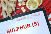 Tablet with words  Sulphur (S) — Stock Photo