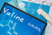 Tablet with the chemical formula of  Valine. — Photo