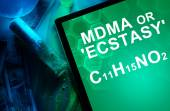 Tablet with the chemical formula of Ecstasy or mdma. — Stock Photo