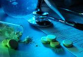 Syringe, stethoscope, tablets and powder. Medicine concept. — Stock Photo