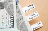 Papers with words Health, car, home insurance and money. — Stock Photo