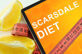 Scarsdale diet on tablet. — Stock Photo