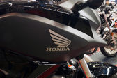 Details of a Honda motorcycle with logo. Kiyv, Ukraine - March 15, 2015 — Stock Photo