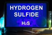 Tablet with chemical formula of  hydrogen sulfide. — Stock Photo