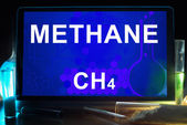 Tablet with chemical formula of  methane. — Stock Photo