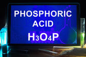 Tablet with chemical formula of  phosphoric acid. — Stock Photo