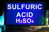 Tablet with chemical formula of  sulfuric acid. — Stock Photo