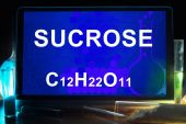 Tablet with chemical formula of  sucrose. — Stockfoto