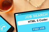 Tablet with HTML 5 Coder on job search site. — Stock Photo