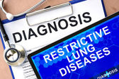 Form with diagnosis and tablet with Restrictive lung diseases — Stock Photo