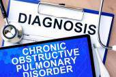 Form with diagnosis and tablet with chronic obstructive pulmonary disorder — Stock Photo
